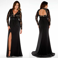 Wholesale Custom Made Black Mother of the Bride Dresses V neck Lace Top Long Sleeve Plus Size Evening Dress Plus Size