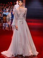 Wholesale New arrival unique Elie Saab Glamorous Sexy beaded crystal Pageant Gowns Evening dresses with long sleeve