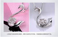 Wholesale with Certificate Factory directing Exclusive design k white gold carat natural real diamond swan pendant free send chain XONYP001B