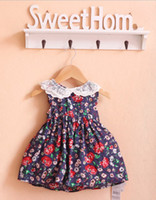 Summer Short Sleeve cotton&lace Free shipping New Brand summer Bohemian baby girl clothing beautiful Princess dress kids for 2-5 years size #80~120 dropshipping #B0044