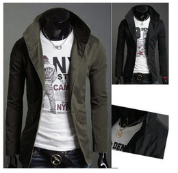 Wholesale 2014 Hot Selling Korean Men s Trench Coat Casual Stand Collar Single Breasted Long Sleeve Slim Fit For Men Trench Coats JK02