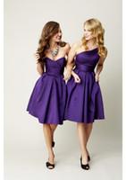 Wholesale 2013 New Hot Sale Cheap Sexy Sweetheart Purple Satin Pleated Knee Length Ruffles Bridesmaid Dresses