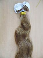 medium brown #8 wavy remy PU Skin Weft Tape in Hair Extensio...