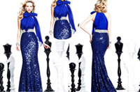 Wholesale Promotion Newest Sexy Mermaid Royal Blue Halter Chiffon Sequined Formal Lady Evening Gowns Long Party Pageant Dress