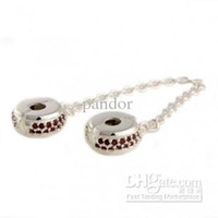 Wholesale New Arrival Sterling Silver Scarlet Crystal Safety Chains Charm European Silver Bead for Bracelet mix