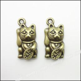 Wholesale Vintage Charms Lucky Cat x11mm Pendant Antique bronze Fit Bracelets Necklace DIY Jewelry