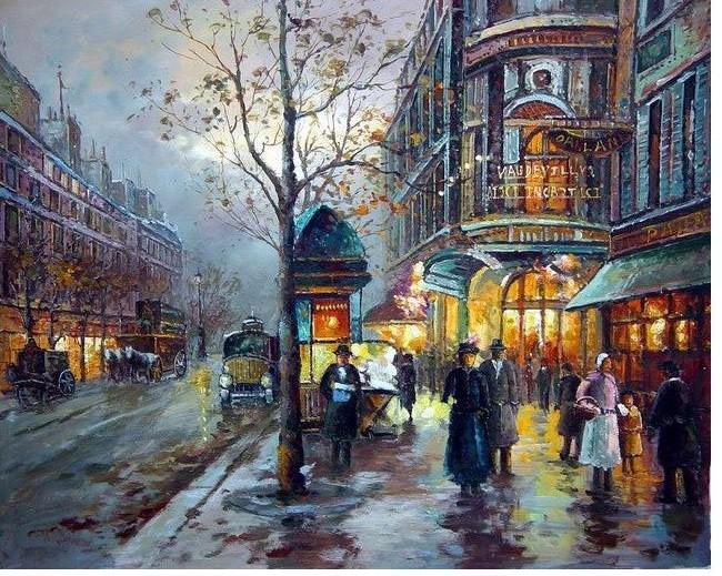 best oil painting landscape street scenes of paris 24x24