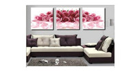 Cheap free shipping modern pure cotton canvas handpainted pink rose oil painting 50*150cm