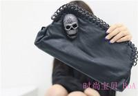Wholesale Women HOT sale European and American fashion handbags skull punk chain clutch evening bag shoulder bag D