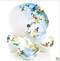 Wholesale European Tea Set Ceramics Coffee maker Fine Spring English Tea Coffee Cup Set
