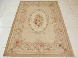 4X6 Aubusson Area Rug ANTIQUE FRENCH PASTEL Rose Floral Wool Handmade Flat  Weave Floor Carpet Wholesale