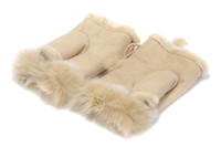 Wholesale Australia UGG logo Gloves Mittens Women Winter Gloves Sheepskin Rabbit Fur Lady Glove Christmas Warm Gift Original Quality