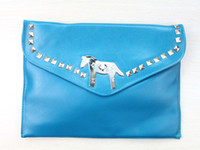 1pcs Fashion Punk Rivet Colt Skyblue PU Leather Envelope Bag...