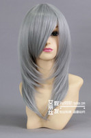 Blue African-American Wigs  Heat Resistant _Medium Silver Gray Straight Cosplay Party Synthetic Wig HK21