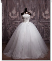 Autumn/Spring best price champagne - Best Price High Quality Ball Gown Strapless White Applique Beads Wedding Dress Sleeveless Floor Length Wedding Gown