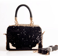 1pcs Fashion Leopard Print Sequins Black PU Leather Satchel ...