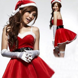 Wholesale 2014 NEW Sexy Mrs Santa Claus Outfit Adult Christmas Outfit Costume Women s Fancy Dress Shirt Hat