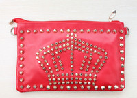 1pcs Korea Punk Rivet Crown Red PU Leather Shoulder Bag Hand...