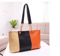1pcs Fashion Orange black Khaki Knitted PU Leather Shoulder ...