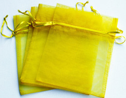 100pcs 9X12cm Yellow jewelry gift pouch wedding organza bags Wedding Favor Christmas Party