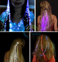 Wholesale LED Light shine Hair Flash light emitting fiber optic pigtail hair pin luminous hair accessory Party Concert supply Birthday christmas gift