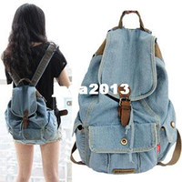 Wholesale New Women Girls Retro Jeans Backpack School Travel Sling Drawstring denim Bag