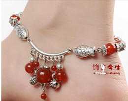 Free shipping Open light red agate Tibetan silver retro Anklets