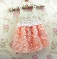 Wholesale Solid Light Blue Ball Gown - Girls dance party dress,kids crochet flower dress,children Bridesmaid dress