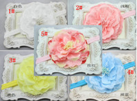 Wholesale 11 inch Children s Hair Accessories Girls Baby Big Peony Flowers Headbands Multilayer Lace Headwear Stretch Cotton Hair Bands Jewelry