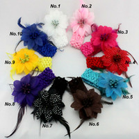 Wholesale Girls Feather Headband Flower With Feather Baby Hairbands Infant Knitting Hair Weave Baby feather hair JH6056