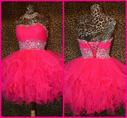 2017 robe de conception de cristal courte 2016 robes robe magnifique design Bling Bling perlé Corset et Tulle Fuchsia court Fluffy bal sweetheart Cheap Homecoming Prom Party abordable robe de conception de cristal courte