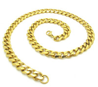 Stainless Steel curb link chain - Hot Selling Unique mm Shiny Classic Gold Curb Links Chain L Stainless Steel Necklace Fahion Men s Jewelry Gift