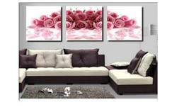 Wholesale modern pure cotton canvas handpainted pink rose oil painting