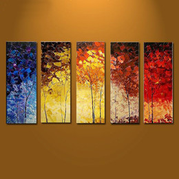 Wholesale Original Large Abstract Oil Paintings Pieces on Canvas Wall Art Colourful Trees Elegant Style Hot Design Decor Home Hot Sale Online