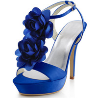 Wholesale Women EU35 Sexy Beach Wedding Shoes Blue EP2068 PF Flowers Stiletto Heel Open Toe Platforms Wedding amp Evening Party Sandals