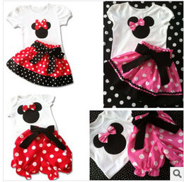 Wholesale Girl Bow Mickey Mouse Suit Outfits Children wave point Short Sleeve T Shirt Fashion Lace Princess Skirts Child Suit Kids Sets Pleated Skirt