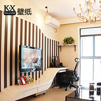 Wholesale K x Wallpaper ofhead fashion black and white stripe pure paper wallpaper sofa tv background wall