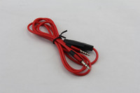 Wholesale 1 M mm male to male Car Aux Audio Cable with Mic for mobile phone for MP3 red color high quality