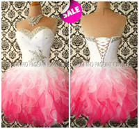 Wholesale Cheap Shiny Party Dresses Short - Multi Color White and Pink Ombre Corset and Tulle Shiny Beaded Cheap Homecoming Prom Dresses 2016 Fall Formal Party Wear Fancy Lovely Gowns