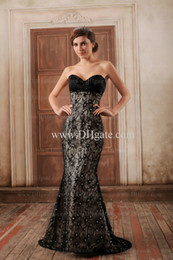 Wholesale Black Sweetheart Sequin Floor Length Evening Dresses Lace Pleated Party Dresses Long Gown Formal Gowns