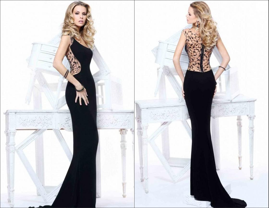 Tarik Ediz 2014 Sexy Black Evening Dresses Sheath Scoop Chiffon ...