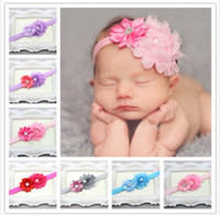 Wholesale baby Headbands Hairband Headwear Big Pink Rose Flowers Elastic White Chiffon Headband Kids Hair Ornaments