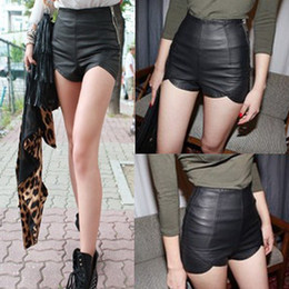 Wholesale Fashion High Waist Pu Leather Shorts Slim Black Tight Side Zipper Women s Summer Top Solid Color European Style Ladies Shorts KH001