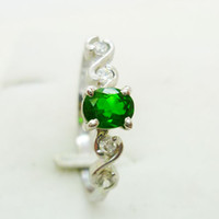 Wholesale Gemstone ring Natural diopside silver plated k white gold ring Perfect Jewelry DH