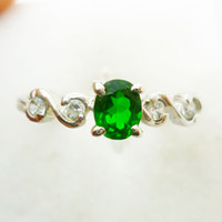 Wholesale Diopside ring Natural and real diopside Green gemstone sterling silver ring Perfect Jewelry DH