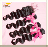 Body Wave Brazilian Hair Qingdao,China Brazilian Remy Hair Lace Closure With Bundles Weaves 4pcs lot 10-22inch body wave Natural Color Free shipping