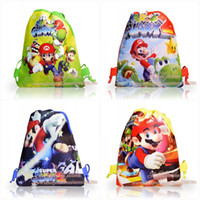 Cheap Kids' Love Super Mario Designs Non-woven Kids Drawstring Backpack School Tote Bag 10pcs 29*22.5cm Kids' Birthday Party Gifts