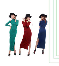Wholesale 2013 Spring Autumn sexy elegant sheath hight neck long sleeve cotton casual dresses black red green blue