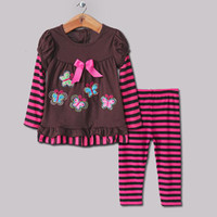 Girl Spring / Autumn Short New 2014 Kids Clothing Suit for Girls 2 PCS Striped Clothes Long Sleeve T Shirt With Cotton Pants Wholesale Baby Clothes