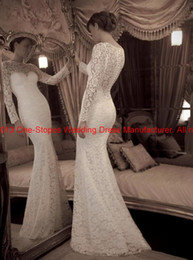 Wholesale New Arrival Sexy Mermaid Elegent Full Lace Jewel Neck Illusion Front Long Sleeves Covered Button Wedding Dresses YR_LS3